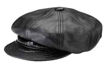 New York Lambskin Leather Spitfire/Newsboy Cap
