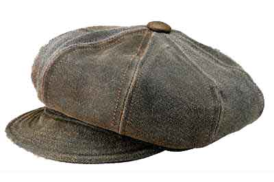 New York Antique Leather Spitfire/Newsboy Cap